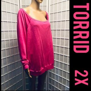 Torrid Pink Off Shoulder Top / Tee Shirt 2X Plus